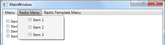 WPF MenuItem as a RadioButton WPF